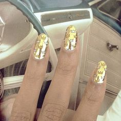 All hail to Queen Bey's nail art! #beyonce #nailart #nails #gold