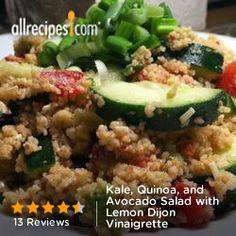 Kale, Quinoa, and Avocado Salad with Lemon Dijon Vinaigrette from Allrecipes.com #myplate #veggies #protein