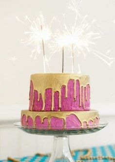 Style Me Pretty Gold & Pink Cake @Kelli Barnette we will have a New Year's Celebration this year.
