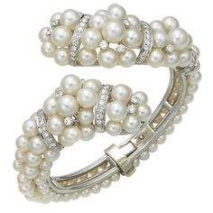 Pearl and Diamond cuff, circa 1950s