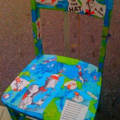 Decoupage Dr. Seuss Book pages to a wooden chair