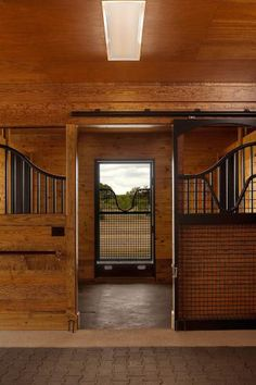 Beautiful lines in this horse stall design! I love the design of the swoops. Plus, it's a very functional stall, too. Stalls by @Lucas Equine Equipment. Barn construction by @Thorsen Construction