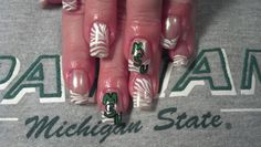 Michigan State Fan nail designs. #football