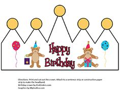 Printable Birthday Crown and Certificate from PreKinders.com