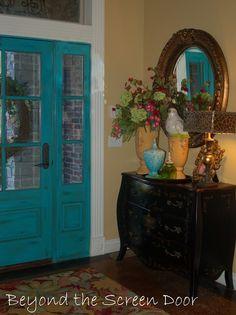 Turquoise front door - interior