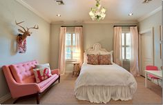 wall colors, teen girl rooms, wall paint colors, soft pink, pink rooms, deer heads, couches, teen girls, bedroom