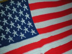 "American Flag - Afghan - Blanket - Crochet    This American flag afghan - measures approx 90"" by 52"" (not including the fringe)    The fringe is approx 4""    https://www.facebook.com/Shelleyscrochetole"
