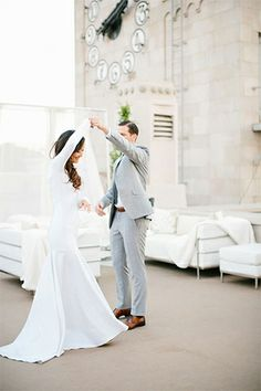 This Modern Wedding In Downtown L.A. Is Just Stunning #refinery29  http://www.refinery29.com/100-layer-cake/39#slide24  They really are such a handsome pair, aren't they? Best wishes to them both!