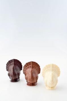 Chocolate turkeys available in white, milk, and dark chocolate.