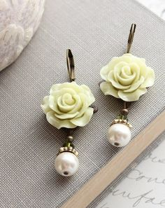 Rose Earrings Light Green Pearl Drop Floral by apocketofposies