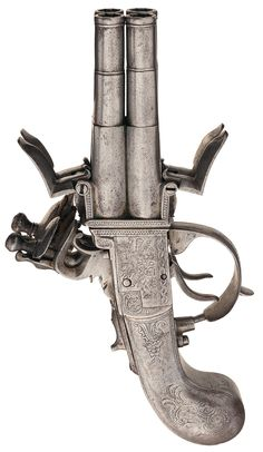 Engraved All Metal Segallas London Swivel Quad Barrel Flintlock Pistol, 1760's-1780's .