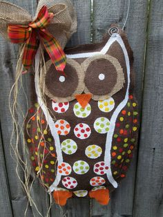 Owl Burlap Door Hanger Door Decoration Fall Colors