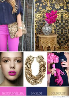 hot pink, navy, gold leaf