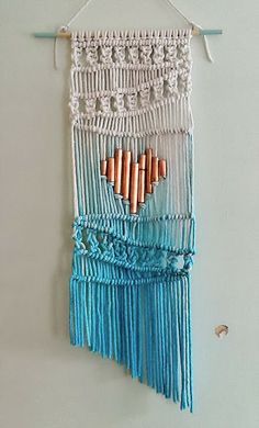 Ombre Macrame wall hanging..... with a copper pipe heart.. DIY Tutorial with step by step instructions...