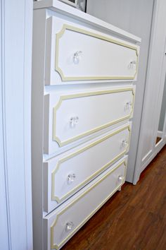 dresser update using overlays (site to purchase overlay accents linked here as well). i love this for a quick and easy fix for a boring dresser.