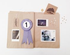 We haven't been this excited about pockets since we got our first pair of cargo pants!  We made this Scrap Book out of paper sandwich bags, so each page is also a pocket to hold your precious treasures.  It holds photos in its pages and *in* its pages.