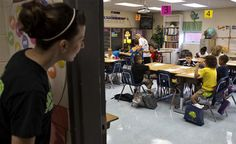 Jendi Thompson takes a last look inside a classroom to see if all is well on the first day of school at Kiln Creek Elementary in Newport News. (Photo by Joe Fudge / Daily Press)