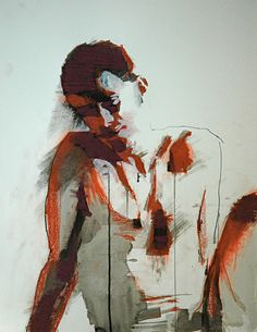 """One Bright Morning No. 2"" - Mark Horst, mixed media on paper. 2010 {contemporary figurative artist seated male abstract painting}"
