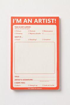 I'm An Artist Notepad | Anthropologie