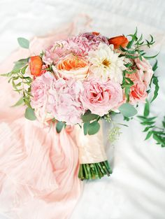 Pink, peach and whit