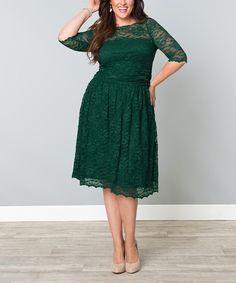 Green Ivy Lace Luna A-Line Dress - Plus