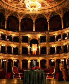 """The Hungarian State Opera House is all yours with this """"once-in-a-lifetime"""" dinner experience available through @Four Seasons Hotel Gresham Palace Budapest. Enjoy a private gourmet meal in the middle of the grand stage, with world-class performers to entertain you while you eat."""