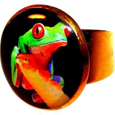 Rain Forest Gold Plated Cute Green Frog Ring