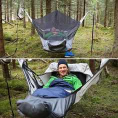 Camping Hammock ~ Inflatable sleeping pad that lets you sleep flat keeps you warm at night...and check out the mosquito net!