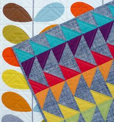 flying geese, color coordination, triangle quilts, quilt inspir, half square triangles, orla kiely, fli gees, orla kieli, kieli quilt