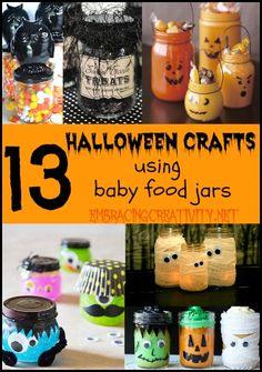 13 Halloween Crafts Using Baby Food Jars - Adorable!