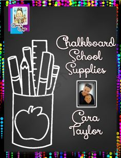 Clipart~ Chalkboard School Supplies from Cara's Clips on TeachersNotebook.com (35 pages)  - Cara's Clips are created by Cara E. Taylor, Creative Playground.  All free and paid graphics may be used for personal and commercial use and no additional licenses are required.  However, I do ask that you kindly give credit to myself and provide a l