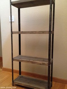 Finished industrial shelving made with Ikea Hyllis shelves