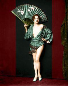 vintag, cheney johnston, jean ackerman, jeans, ziegfeld girl, alfr cheney, ziegfeld folli, 1920s, fan