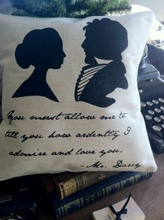 Mr. Darcy Quote Silhouette Pillow-Jane Austen on Etsy, $24.00