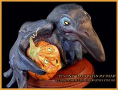 Halloween Crow and Pumpkin sculpture OOAK by Possiblimstudio, $285.00