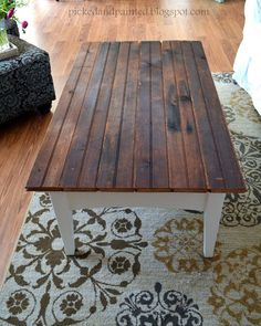 Cute coffee table makeover using Goodwill coffee table and reclaimed tongue and groove barn wood | Picked & Painted