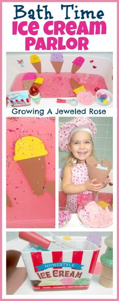 Ice Cream Parlor for Kids- so FUN!  Recipe for TUB SAFE Ice Cream Dough included. baths, bath fun, activities for kids, bath salts, pretend play, kids baking, kids bath, ice cream parlor, bath time