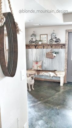 Stained Concrete Floor, Corrugated Metal Wall, Rustic Mudroom, Basement Entry, Using Natural Textures in Design
