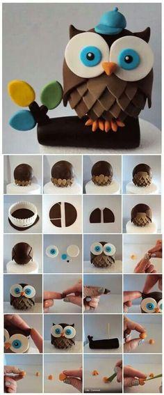 Owl Picture Tutorial Fimo, Cernit et accessoires : http://www.creactivites.com/236-pate-polymere