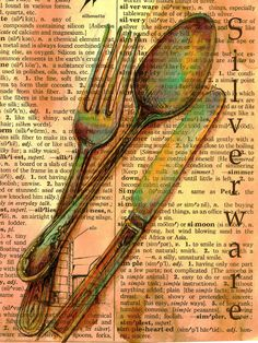 "Christy Patterson, Flying Shoes Art Studio, Guymon Oklahoma.  ""Silverware""  5.5"" x 7.5"" ink, colored pencil & watercolor on distressed dictionary page."