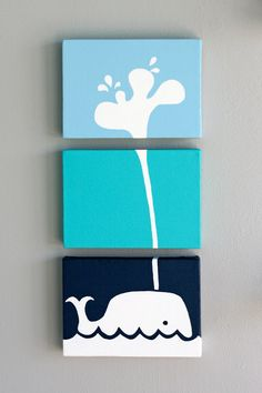 I've pinned this before on another board out of its sheer cuteness, but it would obviously be perfect for a ocean-themed nursery. - SO #nursery #baby #ocean #whale #wallart # - JP Room wall decor idea