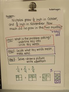 Fraction word problem solving.... great tutorial! classroom, anchors, math blog, fraction, math word problems, colors, anchor charts, teacher hint, educ