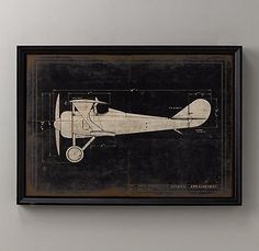 model g airplane blueprint art; perfect for vintage airplane nursery