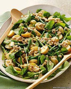 Arugula, Potato, and Green Bean Salad with Creamy Walnut Dressing Recipe