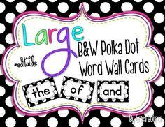 polka dots, classroom decor, bright polka, wall words, word work