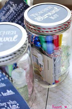 Back to School Teacher Survival Kit Free Printables ~ Mason jar teacher gift featuring Sharpies, hand sanitizer, Starbucks gift card, and chocolate | FiveHeartHome.com