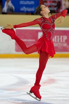 "Adelina Sotnikova, Russian National Figure Skating Championships 2012, ""Bolero"".  -Red Figure Skating / Ice Skating dress inspiration for Sk8 Gr8 Designs."