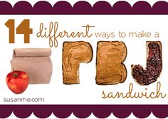 Are you tired of the same old PB&J sandwiches already? Try these 14 Different PB & J Sandwiches for your kids! #schoolunch @Susan Caron Caron Merrill