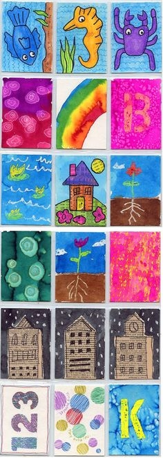 Inspiration for making Art Trading Cards with kids. Art Projects for Kids
