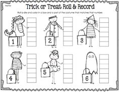 Halloween roll and record first grade math games he writes title
